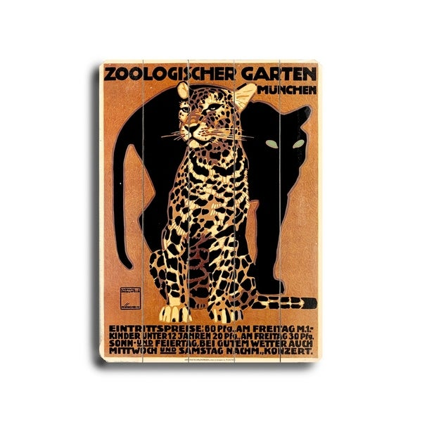 Munich Zoological Garden Leopard Poster - Planked Wood Wall Decor by Ludwig Hohlwein