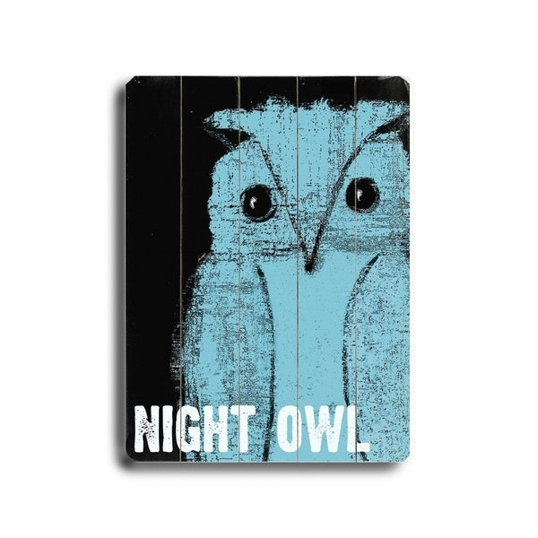 Night Owl - Planked Wood Wall Decor by Lisa Weedn