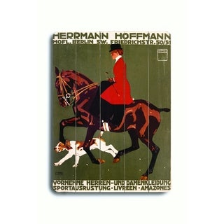 Berlin Horse Show Hunter Jumper -   Planked Wood Wall Decor by Ludwig Hohlwein