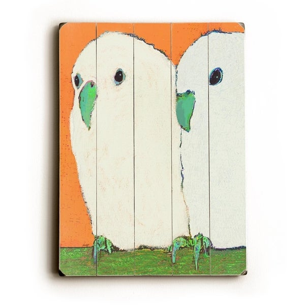 Parakeets No text - Planked Wood Wall Decor by Lisa Weedn