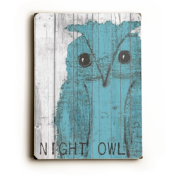 Night owl Blue - Planked Wood Wall Decor by Lisa Weedn