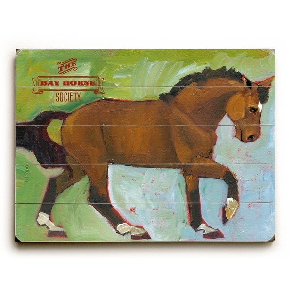 The Bay Horse Society - Planked Wood Wall Decor by Ursula Dodge
