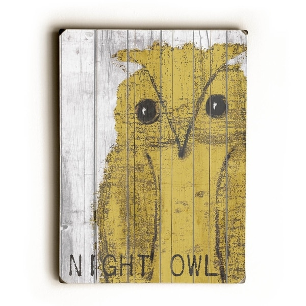 Night owl yellow - Planked Wood Wall Decor by Lisa Weedn