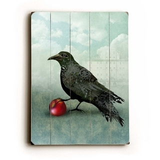 Crow and the apple -   Planked Wood Wall Decor by Krista Raak