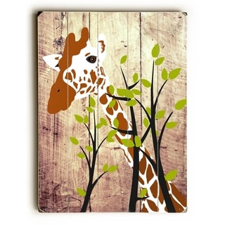 Giraffe -  Planked Wood Wall Decor by  Ginger Oliphant