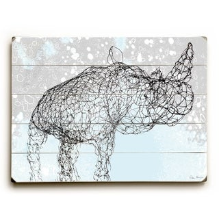 Wired Rhino -   Planked Wood Wall Decor by Peter Horjus