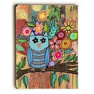 Owl with flowers -  Planked Wood Wall Decor by  Beth Nadler