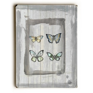 Weathered Butterflies -   Planked Wood Wall Decor by Jennifer Rizzo Design