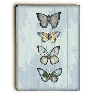 World of Butterflies-Blue -   Planked Wood Wall Decor by Jennifer Rizzo Design