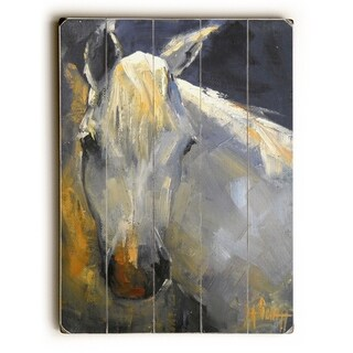 White horse -  Planked Wood Wall Decor by Carol Schiff