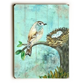 Bird and nest -   Planked Wood Wall Decor by Jennifer Rizzo Design