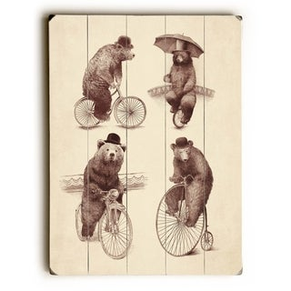 Bears on Bicycles -   Planked Wood Wall Decor by Eric Fan