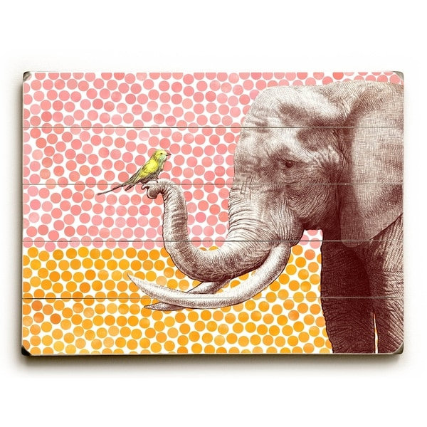 Elephant and Bird - Planked Wood Wall Decor by Eric Fan