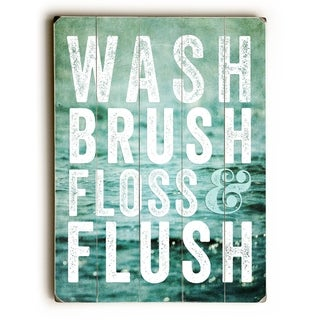 Wash Brush Floss -  Planked Wood Wall Decor by Lisa Russo