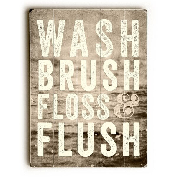 Wash Brush Floss - Sepia - Planked Wood Wall Decor by Lisa Russo