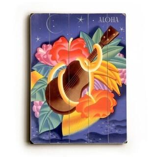Aloha Ukulele by Frank McIntosh -   Planked Wood Wall Decor by Matson