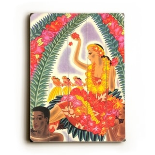 Hula and Lei by Frank McIntosh -   Planked Wood Wall Decor by Matson