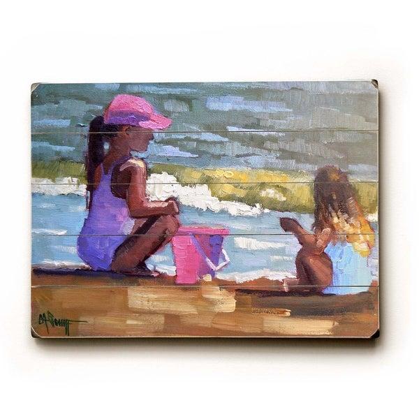 Beach days - Planked Wood Wall Decor by Carol Schiff