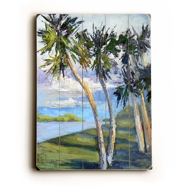 Palm Drive - Planked Wood Wall Decor by Carol Schiff
