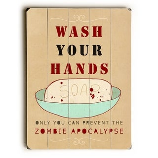 Wash your hands -  Planked Wood Wall Decor by Lisa Barbero