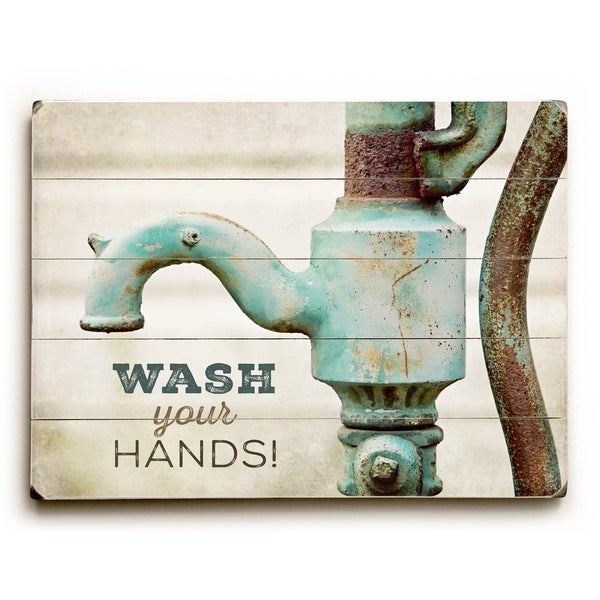 Wash Your Hands - Planked Wood Wall Decor by Lisa Russo