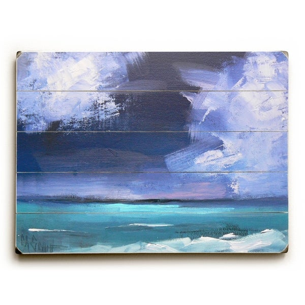 Off shore storm - Planked Wood Wall Decor by Carol Schiff