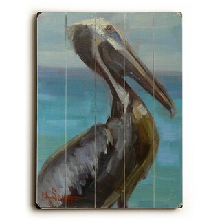 Brown Pelican -   Planked Wood Wall Decor by Carol Schiff