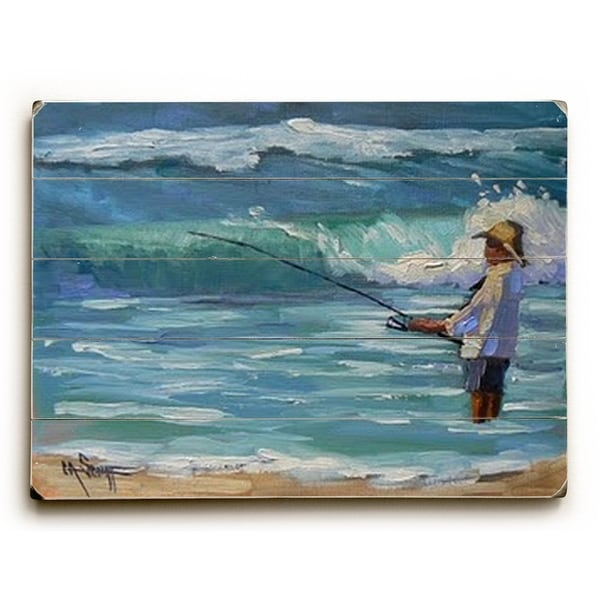 Surf Fisherman - Planked Wood Wall Decor by Carol Schiff