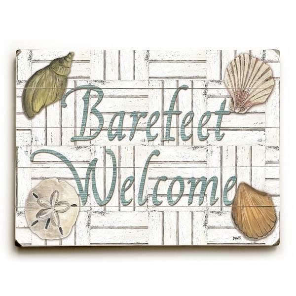 Barefeet Welcome - Planked Wood Wall Decor by Debbie DeWitt