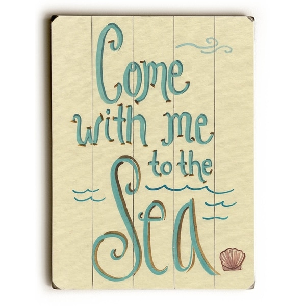 Come with me to the Sea - Planked Wood Wall Decor by Colette Cosentino