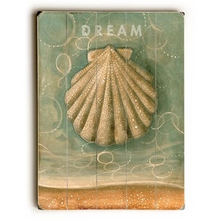 Dream -  Shell -   Planked Wood Wall Decor by Colette Cosentino