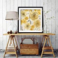 Sunshine and Linen -Custom Framed Print - blue, white, grey, yellow, green, silver, gold
