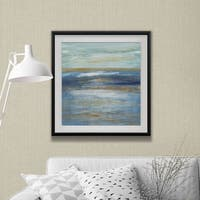 Tuscan Shore I -Custom Framed Print - blue, white, grey, yellow, green, silver, gold
