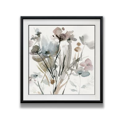Dainty Blooms I -Custom Framed Print - blue, white, grey, yellow, green, silver, gold
