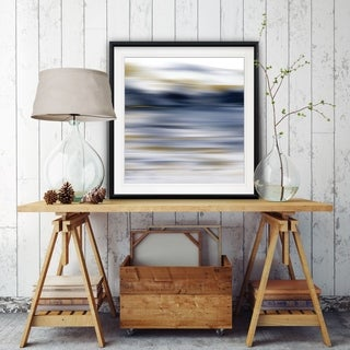 Windswept -Custom Framed Print - blue, white, grey, yellow, green, silver, gold