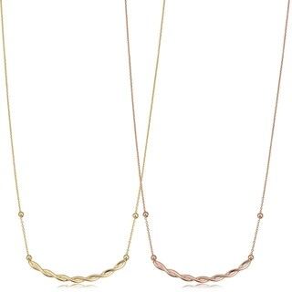 Fremada Italian 14k Yellow Gold or Rose Gold Adjustable Length Twist Curved Bar Necklace (adjusts to 17 or 18 inches)