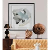 Sand & Sky I -Custom Framed Print - blue, white, grey, yellow, green, silver, gold