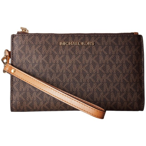MICHAEL Michael KorsAdele Double Zip Brown Wristlet 7Plus