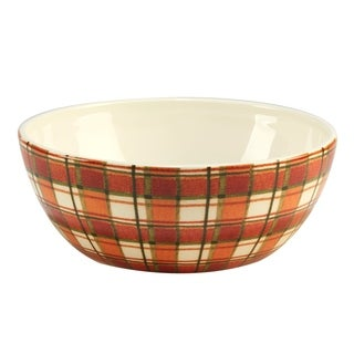 Certified International Autumn Fields Plaid Deep Bowl
