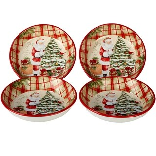 Certified International Holiday Wishes Soup/Pasta Bowls, Set of 4
