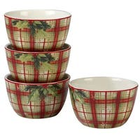 Certified International Holiday Wishes Plaid Ice Cream Bowls, Set of 4