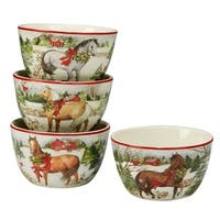 Certified International Christmas on the Farm Ice Cream Bowls, Set of 4 Assorted Designs