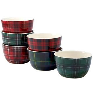 Certified International Christmas Plaid Ice Cream Bowls, Set of 6 Assorted Designs