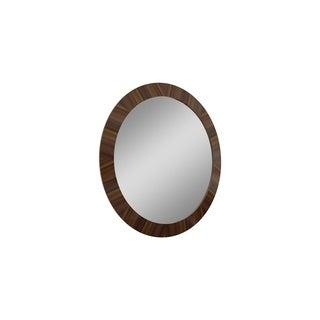Mid Century Walnut Brown Round Wood Bedroom Mirror