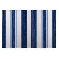 Kavka Designs Blue/White Nautical Stripe Indoor/Outdoor Floor Mat (8' X 10') - 8' x 10' (As Is Item)