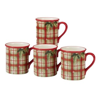 Certified International Holiday Wishes 18 oz. Plaid Mugs, Set of Four