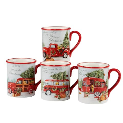 Certified International Home for Christmas 18 oz. Mugs, Set of 4 Assorted Designs
