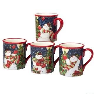 Certified International Starry Night Snowman 18 oz. Mug, Set of 4 Assorted Designs