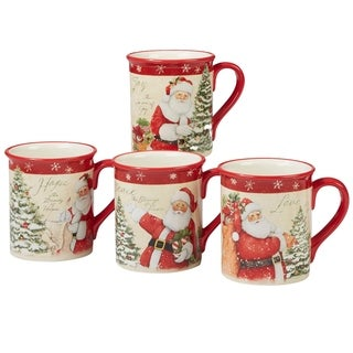 Certified International Holiday Wishes 18 oz. Mugs, Set of 4 Assorted Designs