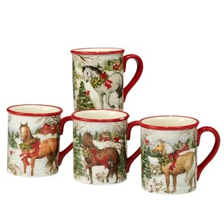 Certified International Christmas on the Farm 18 oz. Mugs, Set of 4 Assorted Designs